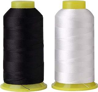 T70 69 Bonded Nylon Sewing Thread - 1500 Yard Spool -(White+Black) 2PCS