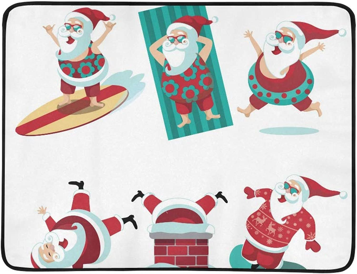 Cartoon Santa Claus Summer and Winter Collection Pattern Portable and Foldable Blanket Mat 60x78 Inch Handy Mat for Camping Picnic Beach Indoor Outdoor Travel