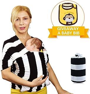 EGMAO BABY - Portabebés para bebé, diseño de envolver al bebé - Especializado para recién nacidos y bebés - Blanco negro de 78.7 x 8.7in