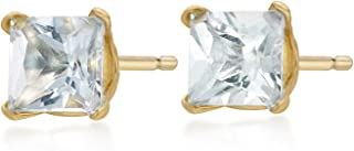 Square 4MM Gemstone 10K Yellow Gold Stud Birthstone Earrings
