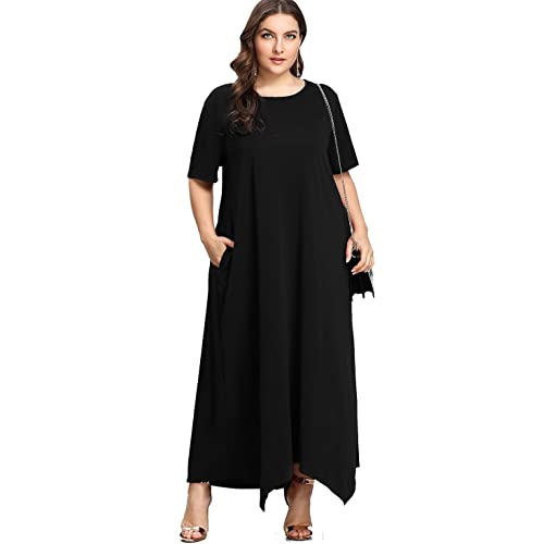 0da1a656472 Romwe Women s Solid Short Sleeve Pocket Loose Maxi Long Party Dress