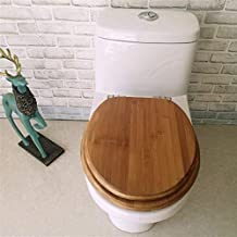Asdfnfa Wood Toilet Lid, with Slow Down Mute Toilet Seat Cover Thickened Top Mounted Bathroom Lid for V/O/U Shape Toilet