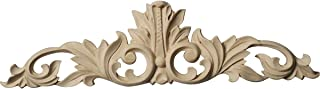 Ekena Millwork ONL12X03X01LFCH Small Green Leaf Center with Scrolls, 12 1/4-Inch x 3 1/4-Inch x 1/4-Inch, Cherry