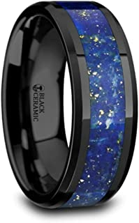 Marlow Men's Polished Black Ceramic Wedding Band Ring with Blue Lapis Inlay & Beveled Edges 8mm Wide Wedding Band from Roy Rose Jewelry
