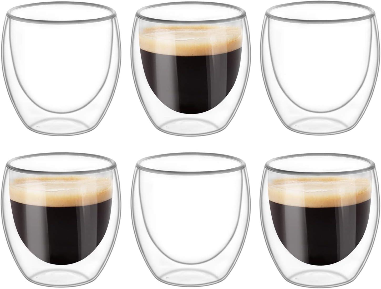 KTMAMA Double Wall Glass Coffee Financial sales sale Max 49% OFF Mugs Set 250ml 8oz 6 of