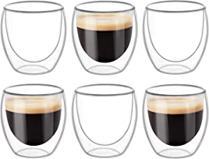KTMAMA Double Wall Glass Coffee Mugs Set of 6 (8oz/250ml), Glass Cups for Hot Beverages,Thermal Insulated Borosilicate Glass Cups for Tea, Coffee, Latte, Cappuccino