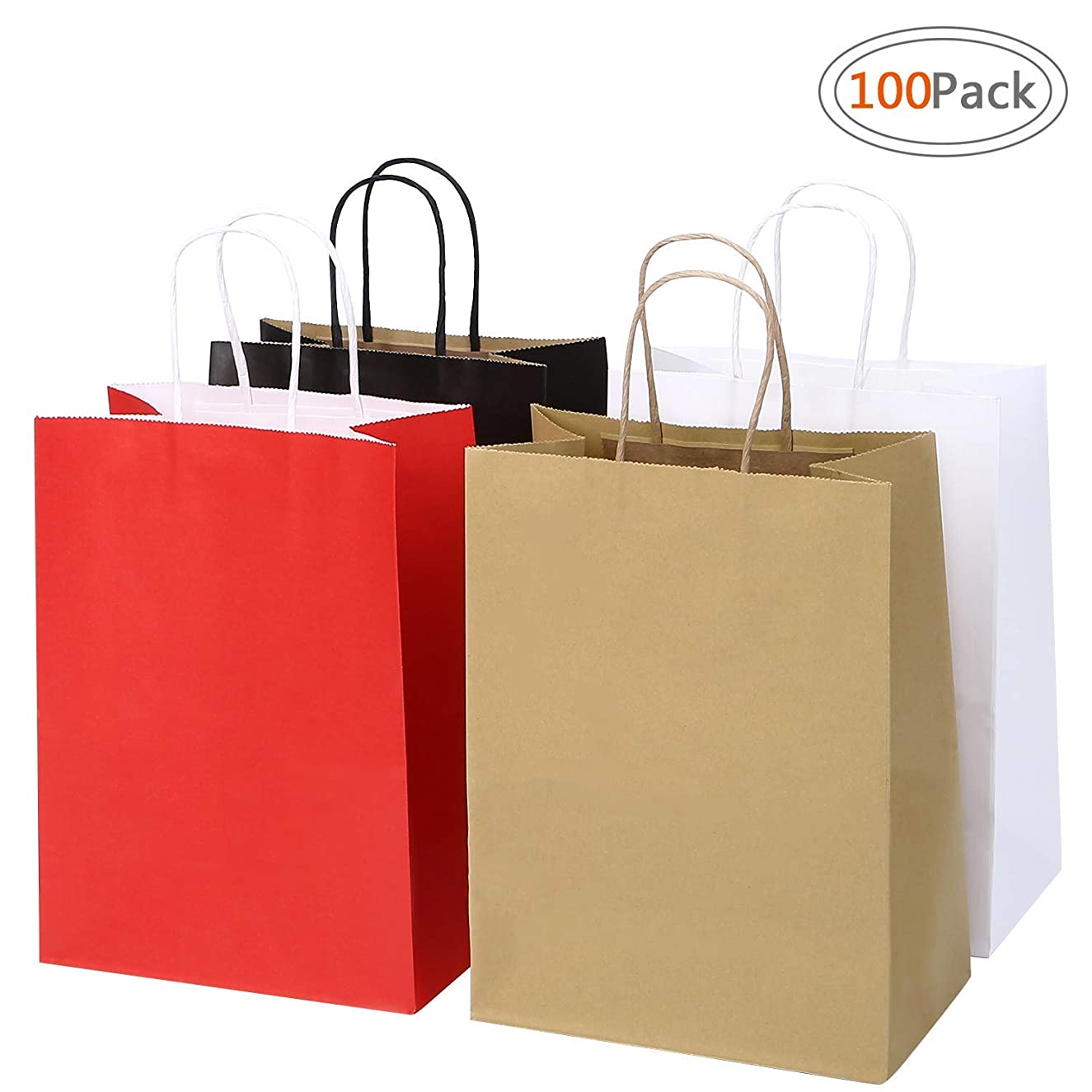 Road 8x4.75x10.5 Inches 100pcs Assorted Kraft Paper Bags, Multi Color Retail Paper Bags with Handles, Merchandise Bag, Gift Bag, Wedding Party Bag