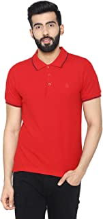 Bongio Men's Polo - Neck Half Sleeve Casual T-Shirt - Red