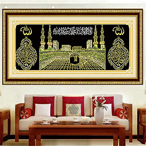 DIY 5D diamante bordado Islam musulmán Santa Kaaba mezquita redondo diamante pintura Kit de punto de cruz decoración de mosaico de diamantes-30x40cm