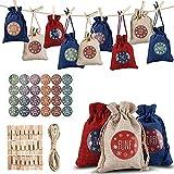 YuKeShop 24 bolsas de embalaje de Navidad, bolsas de tela de calendario de adviento, bolsas de embalaje de galletas para Navidad, bodas, fiestas de cumpleaños, compromisos, fiestas de regalo