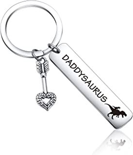 Daddysaurus Keychain dinosaur lover gift Dinosaur Keyring Father's Day Gift Father in Law Gift