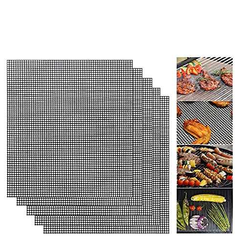 KanYing 5 Pcs BBQ Grill Mesh Mat,Non Stick Grilling Mesh Reusable Heat Resistant BBQ Teflon Grill Mats for Grilling Meat,Veggies, Cooking, Baking, Barbecue and Oven