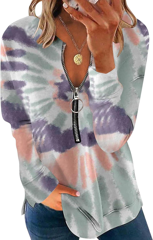 Jaqqra Womens Long Sleeve Tops, Womens Fashion Tie Dye 1/4 Zip Tunic Sweatshirt Long Sleeve Shirts Loose Pullover Tops