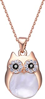 Mestige Women's Rose Gold-Tone Plated Owl Charm Pendant Necklace