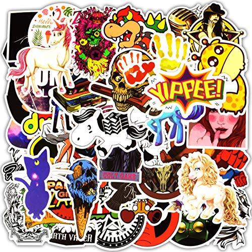50 Stks Willekeurig Zwart En Wit Stickers Doodle Punk Cool Stickers Voor Kinderen Op Laptop Skateboard Koffer Fietshelm Sticker