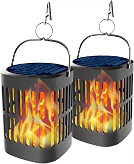 Bebrant Solar Lanterns Solar Powered and USB Charging Flickering Flames Solar Lights Outdoor Hanging Lanterns Waterproof Landscape Decoration Lighting Dusk to Dawn Auto On/Off for Halloween(2 Pack)