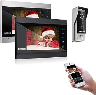 TMEZON 1080P Wifi IP Vidéo Interphone Visiophone,7'' IP Moniteur,Sonnette de Caméra Filaire Vision Nocturne,1x1080P SLAVE ...