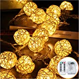 HYAL LUZ Battery Operated 20 LED String Lights, 16.4ft 20 Globe Rattan Balls Christmas Light with Remote Control & Timer, Indoor Fairy String Lights Decorative for Bedroom Party (Warm White)