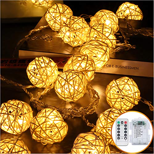 Battery Operated LED String Lights 5m 20 Globe Rattan Balls Christmas Decoration Light Indoor Fairy String Lights Decorative for Bedroom Patio Party Decor(Warm White)