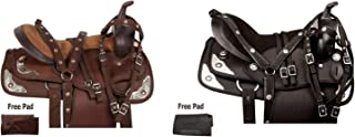 """12"""" 13"""" 14"""" 15"""" 16"""" 17"""" 18"""" Western Synthetic Silver Show Light Weight Horse Saddle TACK Pleasure Trail Bridle REINS Breastplate"""