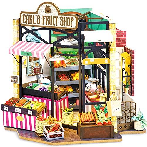 Rolife DIY Miniatur Haus Puppenhaus Kit HolzHaus Modell für Mädchen und Jungen Kinder 14+ Jahre Alt, Carl\'s Fruit Shop
