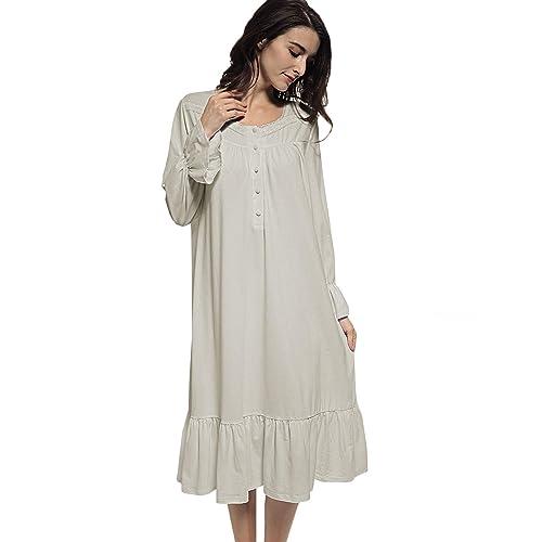 c7eed78b35 Mobisi Womens White Cotton Victorian Vintage Nightgown Long Sleeve  Nightshirt Sleepdress