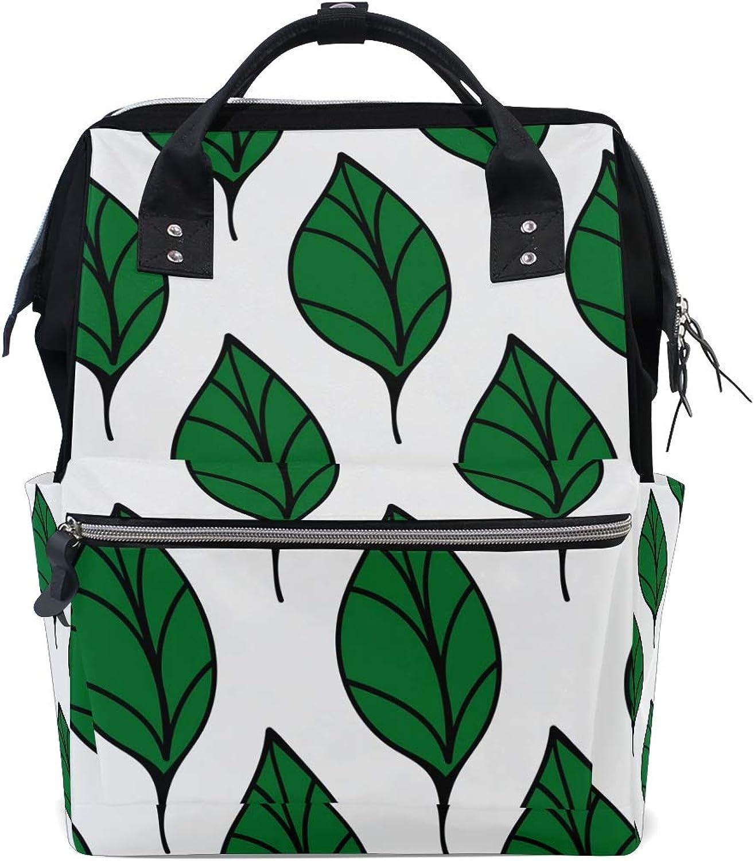 3fb3fd49a8c60 FANTAZIO Backpacks Green Leaves School Bag Canvas Daypack nsjmjp6260 ...