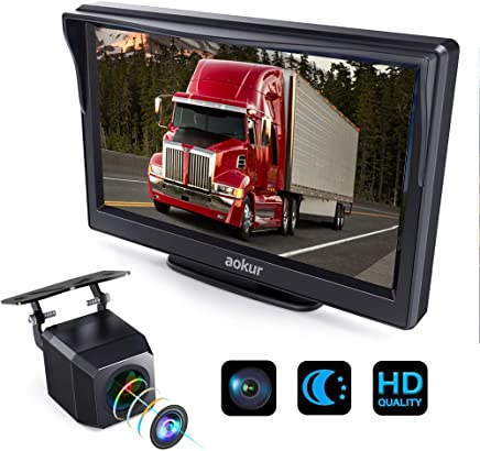 $59 Get Aokur Backup Camera with 7'' HD ISP Monitor, Wide Waterproof Starlight Night Vision Camera for Car/Trucks/Camper License Plate Reverse Parking Assistance