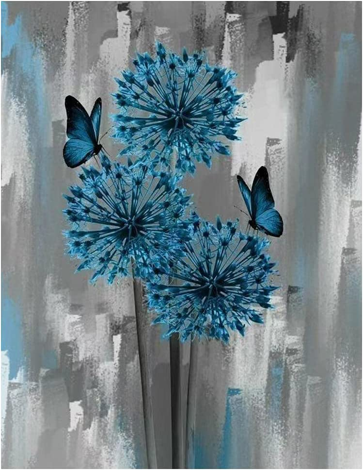 DIY 5D Diamond Painting Kits for Adults, Full Drill Diamond Art Painting by Number Kits,Arts Craft for Home Wall Decor(Dandelion and Butterfly 12x16inch)