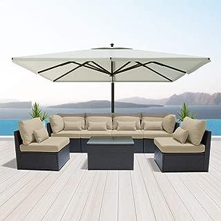 DINELI Outdoor Sectional Sofa Patio Furniture Wicker Conversation Sofa Espresso Brown Rattan Sofa Set G7 (Light Beige)