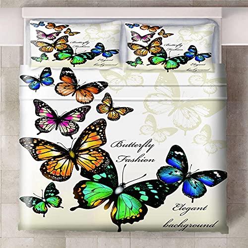 Ababilart Juego De Funda Nórdica Colores Insectos Mariposas 140X200 Cm 3D Ropa De Cama para Viaje O para Morir Fundas Nórdicas Microfibra Hipoalergénica 3 Piezas Funda Nórdica Amante con King