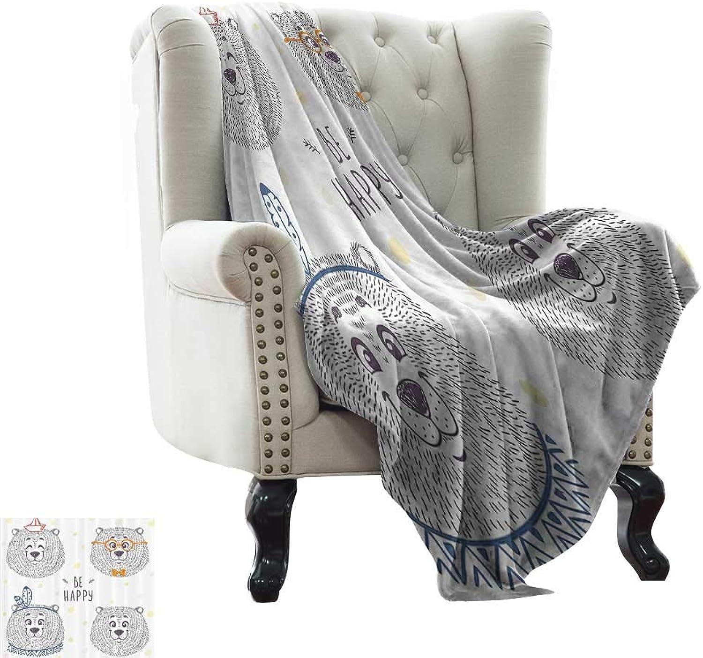 RenteriaDecor Cartoon,Fashion Warm All Season Blanket Kids Boys Girls Room Bear in Styles with Sketchy Hand Drawn Image Art 70 x50  Super Soft Cozy Throws Dark bluee and White