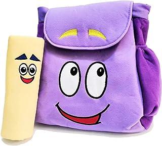 حقيبة ظهر دورا إكسبلورر 30.48 سم مع خرائط ودمى ما قبل رياض الأطفال حقيبة ظهر قطيفة أرجوانية (حقيبة ظهر قطيفة سوداء)