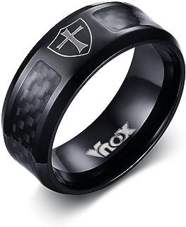 Vnox Uomo in acciaio inossidabile in fibra di carbonio scudo della fede fascia della traversa anello nero,Larghezza 8 mill...