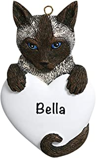 Siamese Cat Personalized Ornament - (Unique Christmas Tree Ornament - Classic Decor for A Holiday Party - Custom Decorations for Family Kids Baby Military Sports Or Pets)