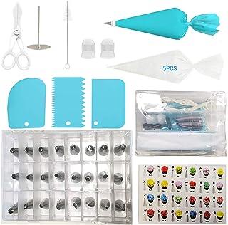 FYY Douilles Pâtisserie, 36 Pièces en Acier Inoxydable DIY Kits, avec 24 Douilles, Poches à Douille réutilisable,Clous à F...