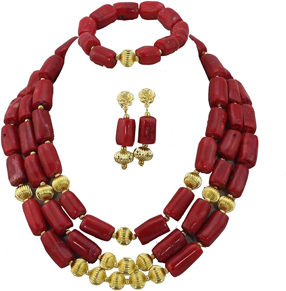 Max 90% OFF Africanbeads 3Rows Limited time cheap sale Costume Red African Coral C Set Beads Jewelry
