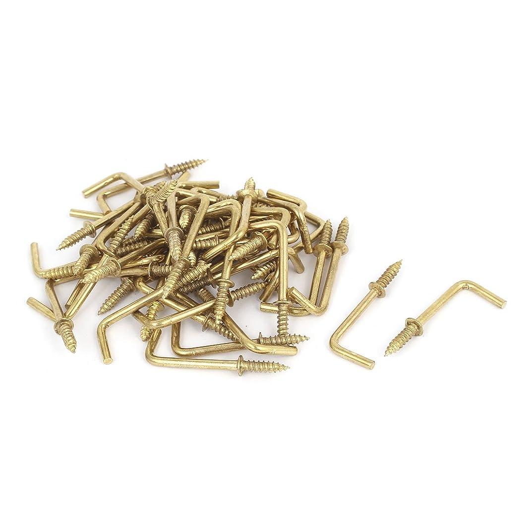 uxcell 39mm x 14mm L Shaped Shoulder Screw Dresser Dress Cup Hook Hanging Hanger 50PCS
