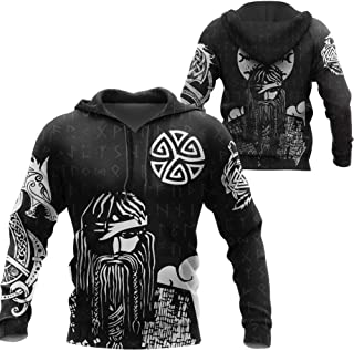3D Printed Viking Hoodie,Unisex Odin Warrior Dragon Valknut Runes Long Sleeve with Pockets Zip Up Pullover Jacket Casual S...