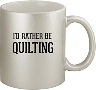 I'd Rather Be QUILTING - Ceramic 11oz Silver Coffee Mug, Silver