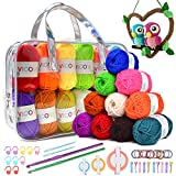 VICOVI 1000+Yard Acrylic Yarn Kit for Crochet&Knitting Craft with 24 Assorted Colors,2 Crochet Hooks,2 Mint Plastic Knitting Needle,10 Markers,10 Hairbands,10 Hairpins,3 Sizes of Pompom Makers