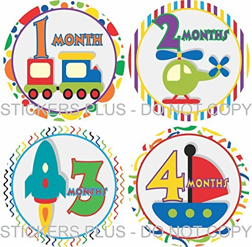 Baby Boy Month Stickers Monthly Baby Milestone Stickers Transportation Train Truck Boat Airplane Rocket Car All Different