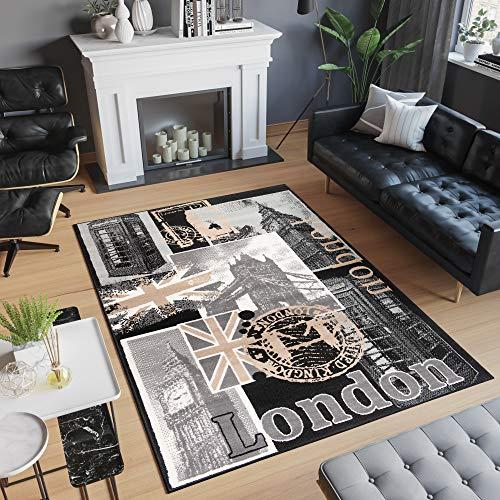 TAPISO Scarlet Deluxe Tapis de Salon Chambre Ado Design Moderne Crème Noir Beige Abstrait Motif Londres Fin 80 x 150 cm