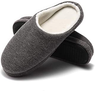 GaraTia Mens Memory Foam Slippers Comfort Knitted Cotton-Blend Closed Toe Open Back Slip-on Slippers