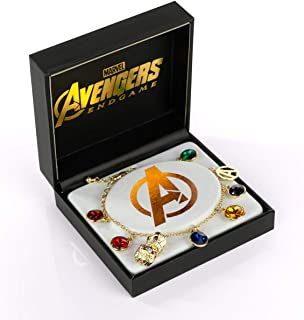 Marvel Avengers: Endgame Infinity Stone Gold Charm Bracelet | Measures Up To 8 Inches | Official Marvel Avengers Jewelry | Includes 8 Avengers Charms