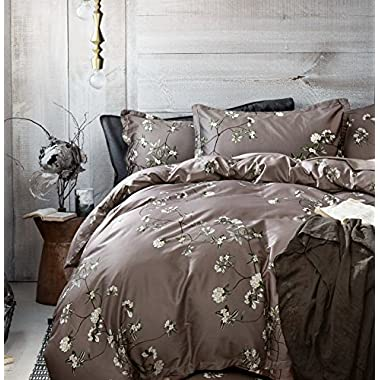 French Country Garden Toile Floral Printed Duvet Quilt Cover Cotton Bedding Set Asian Style Tapestry Pattern Chinoiserie Peony Blossom Tree Branches Multicolored Design (King, Grey Fog)