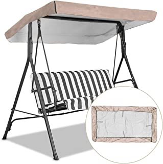 Replacement Canopy for Swing, Outdoor Swing Canopy Replacement Porch Top Cover Seat Furniture 3 Seater Waterproof Top Cove...