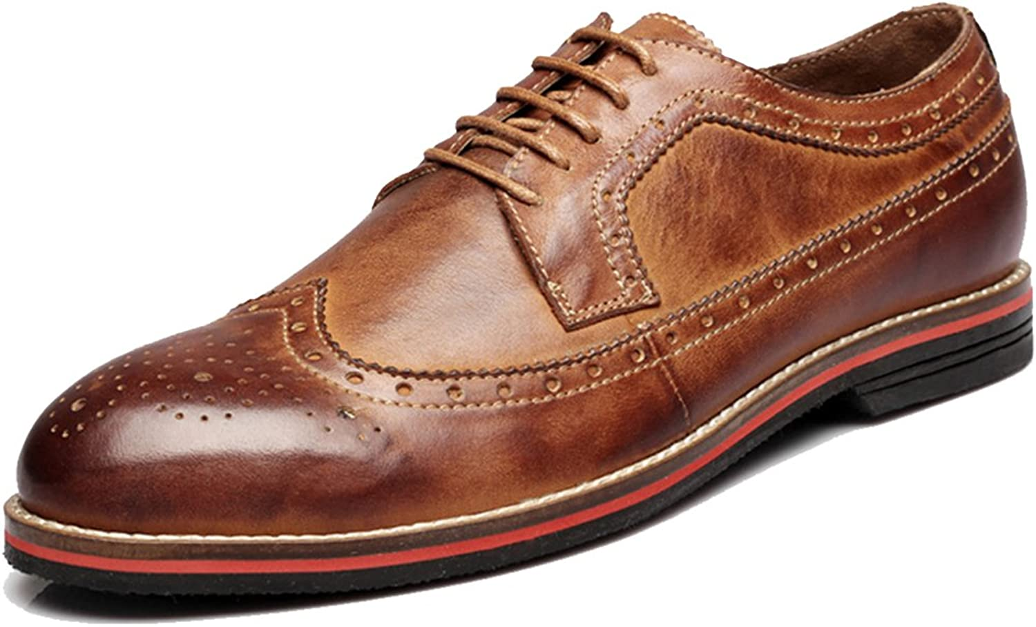 Beinfaith Men's Distressed Genuine Leather Wingtips Oxfords Lace-ups
