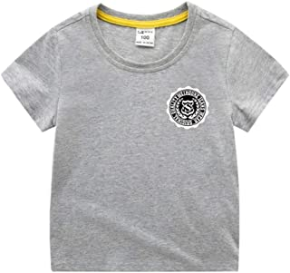 Mornyray Kids Summer Playwear Fashionable Printing Style Cotton Top Short Sleeve Tee With Solid Color Design Babyboys Casual Playwear Fashion Wild Boys Sport Bottoming Tee(3-8T)