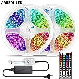 ARREDI LED Striscia LED RGB, Strisce LED 10mt, Luci LED 5050 – Telecomando remoto ed ali...